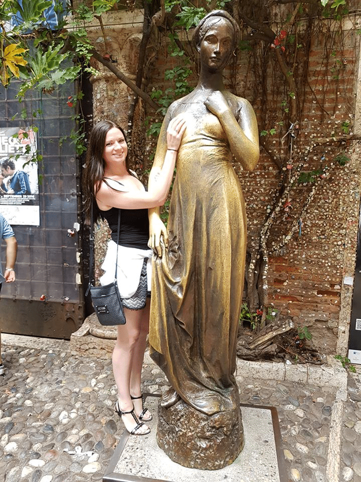 Italians believe that if you touch Juliet's right breast, it makes you lucky in Love.  Ironic don't you think?